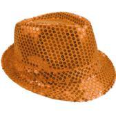 24 Units of Orange Sequin Fedora Hat - Fedoras, Driver Caps & Visor