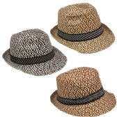 72 Units of ASSORTED COLOR FEDORA HAT WITH STRIPED RIBBON - Fedoras, Driver Caps & Visor