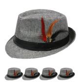 24 Units of PLAIN FEDORA HAT IN GREY WITH FEATHER