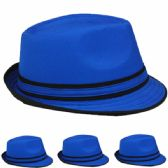 24 Units of CASUAL FEDORA HAT IN BLUE WITH BLACK BAND