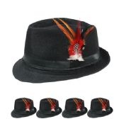24 Units of PLAIN FEDORA HAT IN BLACK WITH FEATHER - Fedoras, Driver Caps & Visor
