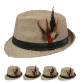 24 Units of PLAIN FEDORA HAT IN TAN WITH FEATHER - Fedoras, Driver Caps & Visor