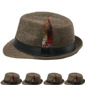 24 Units of PLAIN FEDORA HAT IN BROWN WITH FEATHER - Fedoras, Driver Caps & Visor