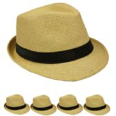 24 Units of Adult Natural Straw Fedora Hat - Fedoras, Driver Caps & Visor