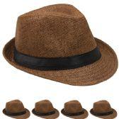 24 Units of DARK BROWN STRAW FEDORA HAT - Fedoras, Driver Caps & Visor