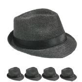24 Units of GREY STRAW FEDORA HAT - Fedoras, Driver Caps & Visor
