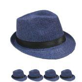 24 Units of BLUE STRAW FEDORA HAT - Fedoras, Driver Caps & Visor