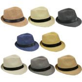 72 Units of Assorted Color Straw Fedora Hat With Black Band