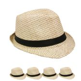 24 Units of PAPER STRAW FEDORA HAT WITH BLACK BAND - Fedoras, Driver Caps & Visor