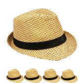 24 Units of TAN AND BROWN FEDORA HAT WITH BLACK BAND - Fedoras, Driver Caps & Visor