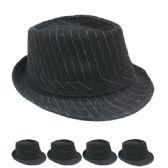 72 Units of GREY AND WHITE STRIPED FEDORA HAT - Fedoras, Driver Caps & Visor