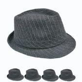 24 Units of GREY AND WHITE STRIPED FEDORA HAT - Fedoras, Driver Caps & Visor