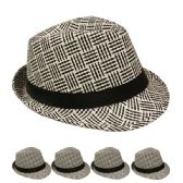 24 Units of BLACK AND WHITE STRIPED FEDORA HAT WITH BLACK BAND - Fedoras, Driver Caps & Visor