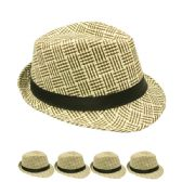 24 Units of TAN AND BROWN STRIPED FEDORA HAT - Fedoras, Driver Caps & Visor