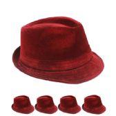 24 Units of PLAIN RED FEDORA HAT - Fedoras, Driver Caps & Visor