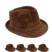 24 Units of PLAIN BROWN FEDORA HAT - Fedoras, Driver Caps & Visor