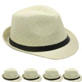 24 Units of TAN AND WHITE FEDORA HAT WITH BLACK BAND - Fedoras, Driver Caps & Visor