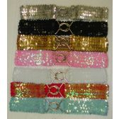 60 Units of Sequin Stretch Belt For Womens - Womans Belts
