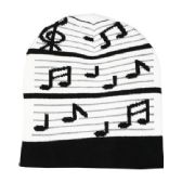 36 Units of BLACK AND WHITE MUSIC NOTE BEANIES - Winter Beanie Hats