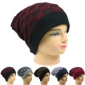 72 Units of WOMANS WARM CHECKERED WINTER HAT IN ASSORTED COLORS