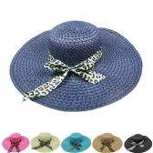 24 Units of WOMEN'S SOLID COLOR SUMMER HAT WITH ANIMAL PRINTED BOW - Sun Hats