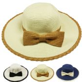 24 Units of WOMANS SUMMER HAT WITH BOW ASSORTED COLOR - Sun Hats