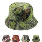 24 Units of Unisex Leaf Print Summer Bucket Hat Assorted - Bucket Hats