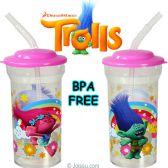 36 Units of Dreamworks Trolls Acrylic Travel Cups w/ Lid & Straw