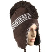 72 Units of KNITTED MOHAWK BEANIE IN BROWN - Winter Beanie Hats