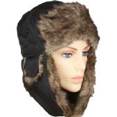 36 Units of PILOT HAT IN BLACK WITH FAUX FUR LINING AND STRAP