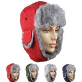36 Units of ASSORTED WINTER PILOT HAT WITH FAUX FUR LINING AND STRAP - Trapper Hats