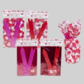 96 Units of 2 Pack Valentines Cello Gift Bag w| pull bows/tags