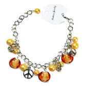 144 Units of BEADED FASHION BRACELET WITH PEACE SIGNS - Bracelets