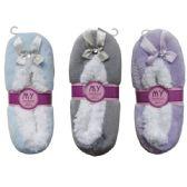 24 Units of Winter House Slipper Plain Stone - Womens Fuzzy Socks