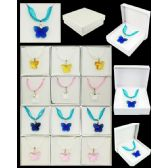 96 Units of ASSORTED COLOR BUTTERFLY MURANO GLASS NECKLACES - Necklace