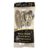 48 Units of Fancy 2 Tone Silver/White 12CT Cutlery - Disposable Cutlery