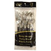 48 Units of Fancy 2 Tone Silver/Black 12CT Fork - Disposable Cutlery