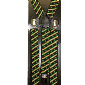 96 Units of BLACK SUSPENDERS WITH GREEN LEAVES - Suspenders