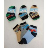 48 Units of 3 Pair Boy's Anklet Socks 2-4 [Cars] - Boys Ankle Sock