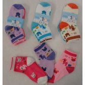 48 Units of 3pr Girl's Anklet Socks 2-4 [Deer & Bunny] - Baby Apparel