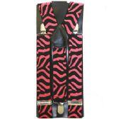 96 Units of PINK ZEBRA SUSPENDERS - Suspenders