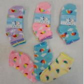 60 Units of 3pr Girl's Anklet Socks 4-6 [Umbrella & Clouds] - Girls Ankle Sock