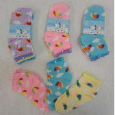 60 Units of 3pr Girl's Anklet Socks 4-6 [Umbrella & Clouds]