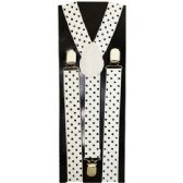 48 Units of WHITE SUSPENDERS WITH BLACK DOTS - Suspenders