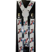 72 Units of WHITE SUSPENDERS WITH AMERICAN FLAG EAGLE - Suspenders