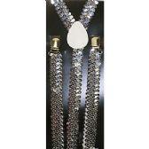 48 Units of SILVER SEQUINED SUSPENDERS - Suspenders