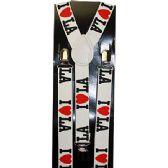"48 Units of WHITE ""I LOVE LA"" SUSPENDERS - Suspenders"
