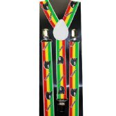 48 Units of RED YELLOW AND GREEN STRIPED BOB MARLEY SUSPENDERS - Suspenders