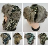 24 Units of Bomber Hat with Fur Lining [Digital Camo] - Winter Beanie Hats