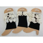 24 Units of Boot Cuffs [Black with Antique Lace Assortment] - Winter Beanie Hats